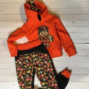Trukfit NWOT orange/floral sweats set size girls 7